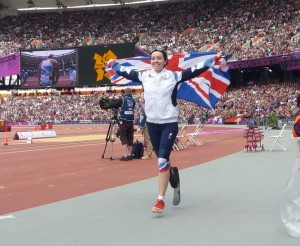 Stef run with flag for web