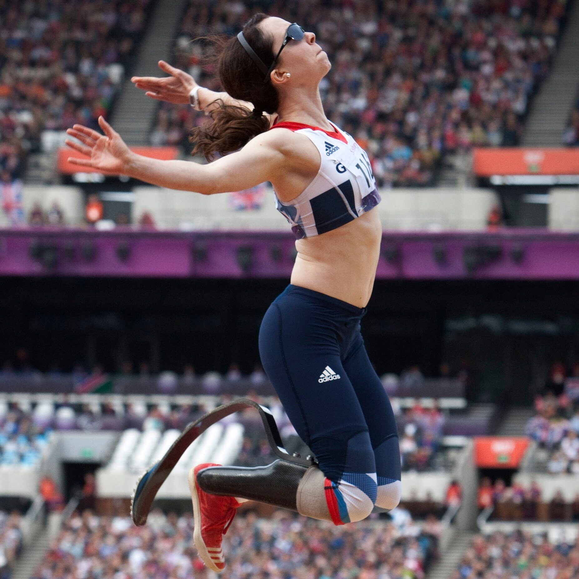LONDON, UNITED KINGDOM - SEPTEMBER 02: Stef Reid of Great Britain competes in the Women's Long Jump F42/F44 on day 4 of the London 2012 Paralympic Games at Olympic Stadium on September 2, 2012 in London, England. (Photo by Helene Wiesenhaan/Getty Images)